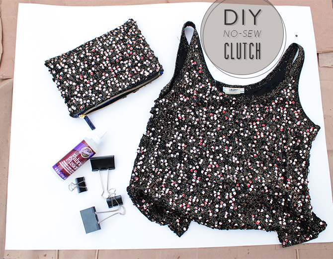 DIY sequin clutch header
