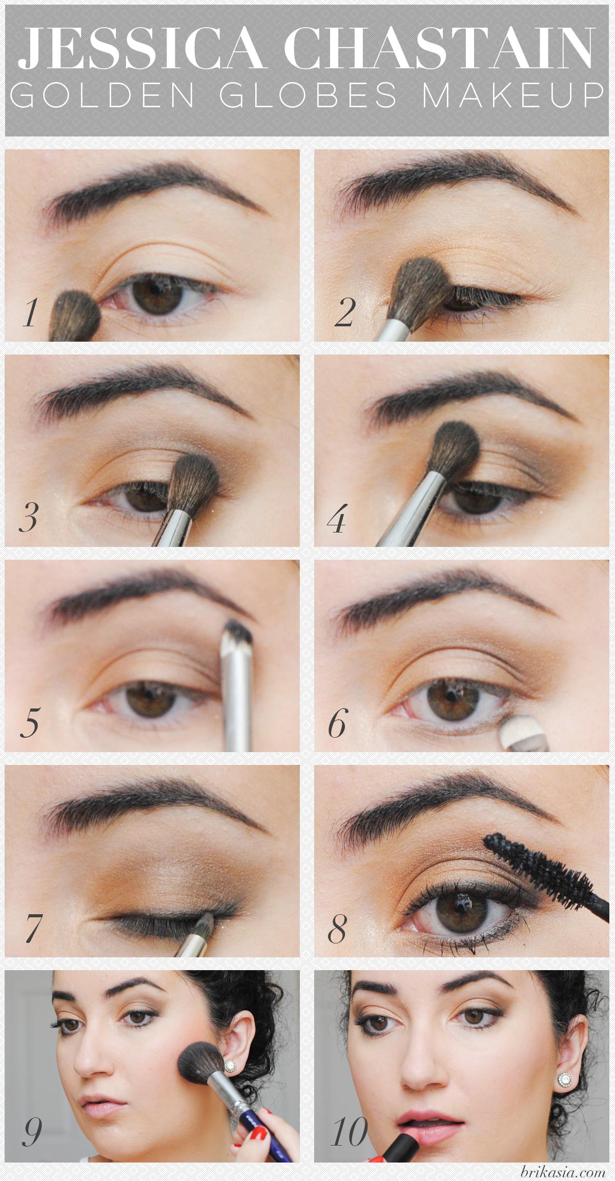 Jessica Chastain Golden Globes Makeup Tutorial