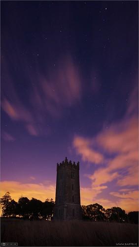 ireland tower night clouds astrophotography maynooth constellation kildare ptlens localhistory historicbuilding cartonestate