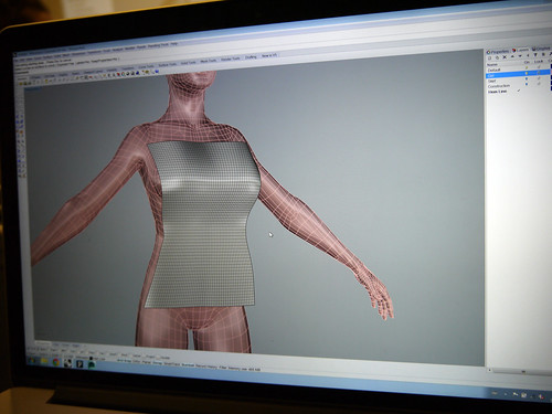 Tom modelling textures on the body in Rhino 3D