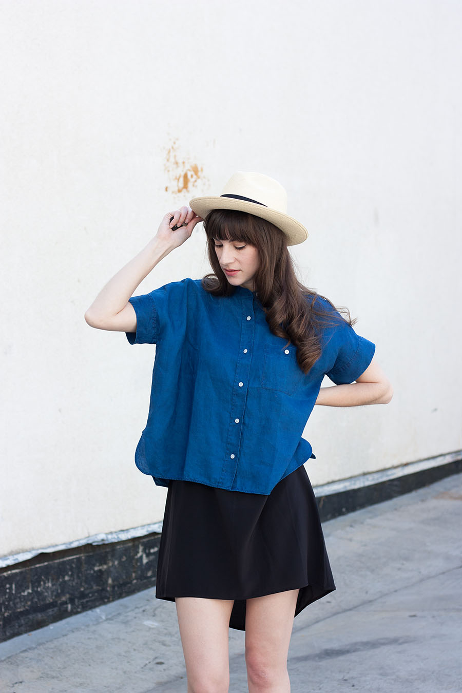Blue Linen Shirt, Summer Hat, Black Silk Dress