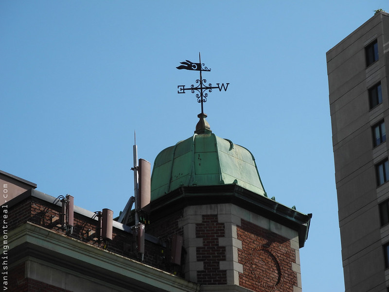 Weather vane on building on corner of Sherbrooke and Guy