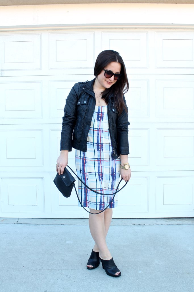 fall outfit idea: plaid summer dress and faux leather jacket