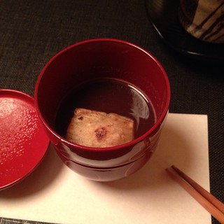 Daigo - sweet red bean soup with rice flour cake