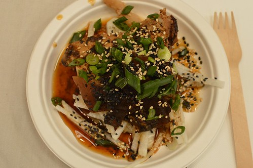 Pork belly poached in wakame with daikon