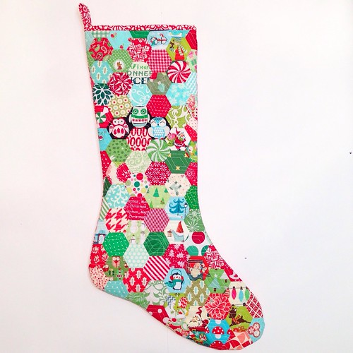 Quilted hexie Christmas stocking
