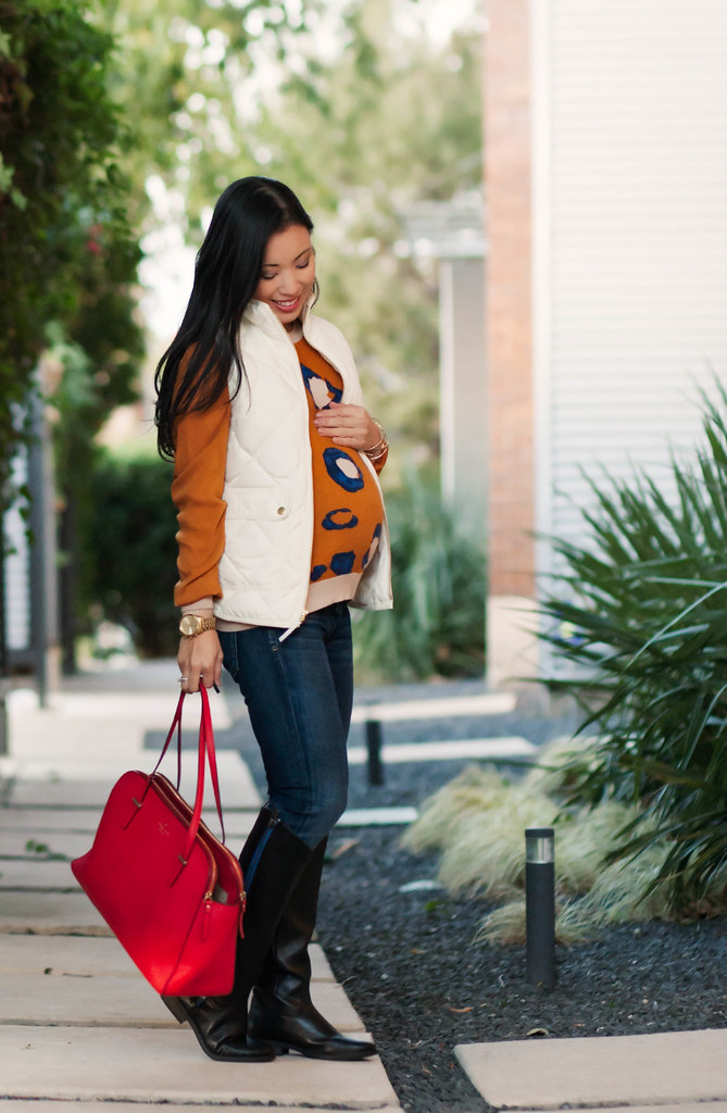cute & little blog | petite fashion | maternity baby bump pregnant | j.crew white excursion quilted puffer vest, phillip lim leopard sweater, citizens humanity racer jeans, forever 21 angled knee high black boots, kate spade red satchel | fall outfit | th