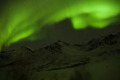 En Busca de Las Luces del Norte a Tromso Noruega en Marzo de 2014, en el lago helado de  Kattfjordvannet