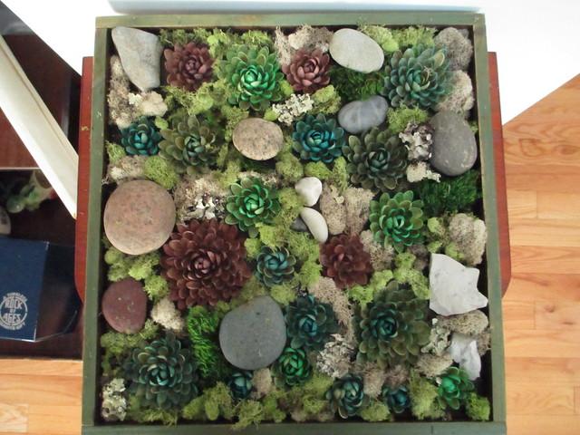 Faux succulent rock garden