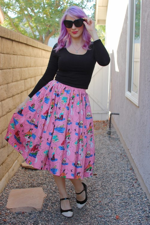 Pinup Girl Clothing Jenny Skirt in Neverland Print 001