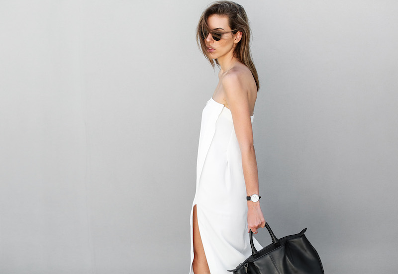 modern legacy fashion blog white strapless dress street style brogues oxfords Helmut Lang Alexander Wang Saba diy black white (4 of 6)