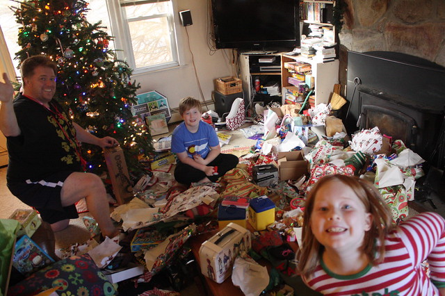The Aftermath-a fave annual picture. Clearly we don't clean up as we unwrap but save it all until the very end.