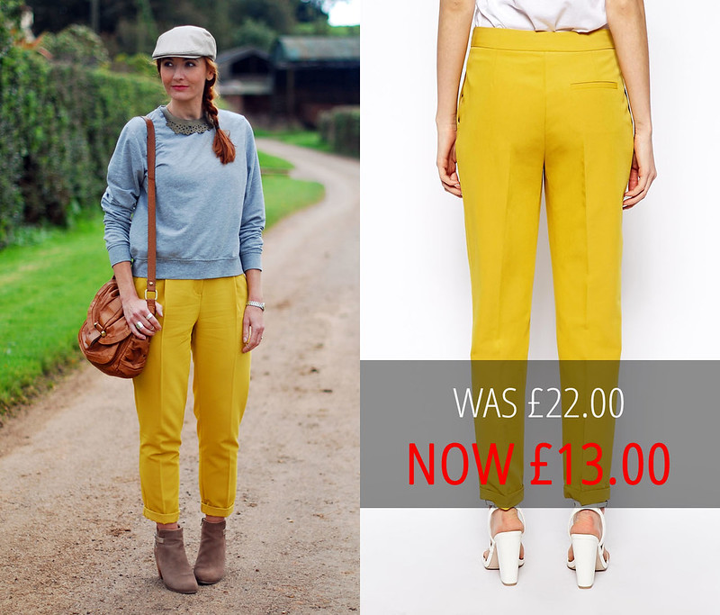 Sale: ASOS Yellow Clean Peg Leg Trousers