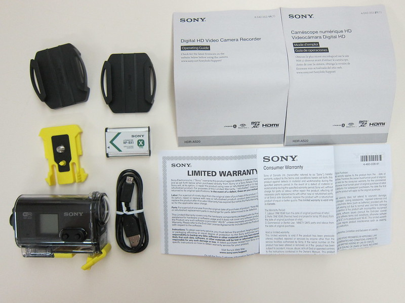 Sony HDRAS20/B Action Video Camera - Box Content
