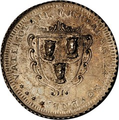 Lot 1032. MEXICO. Valladolid de Michoacan. Silver Proclamation Medal, 1760 reverse