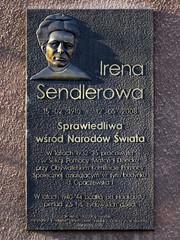 Irena Sendler memorial plaque on the wall of 2 Pawińskiego Street