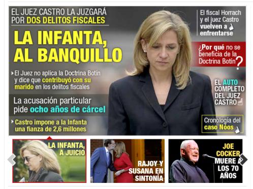 Porque lo que la Infanta defrauda lo pagamos todos, Cristina se sentará en el banquillo de los acusados
