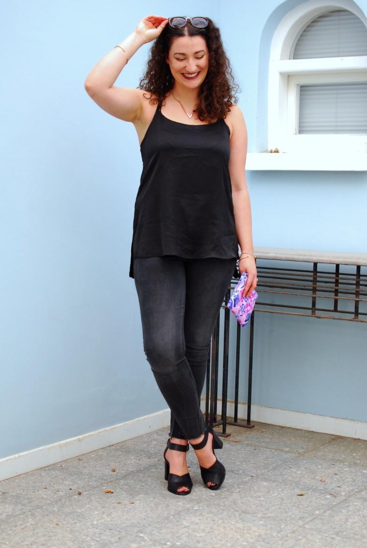 Black silk camisole top