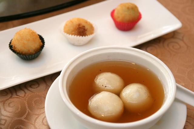 "Handmade Tang Yuen in ""Gula Melaka"" Ginger Syrup; Chef Signature Golden Glutinous Rice Balls"