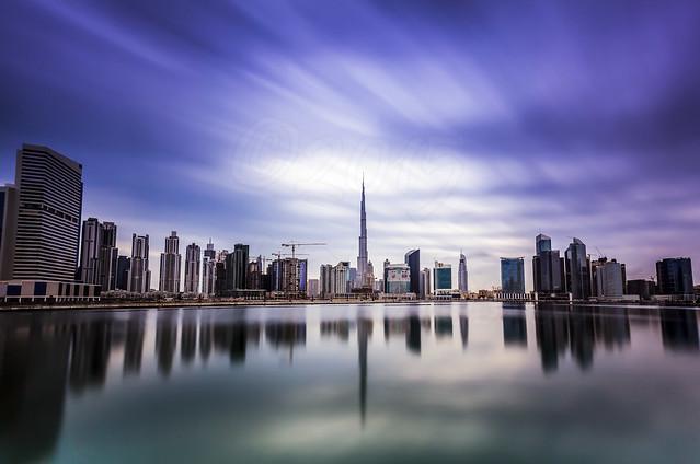 Business bay and Burj Khalifa in Rain