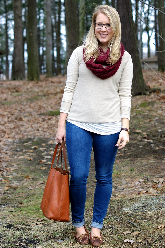 easy layering: striped top under sweater