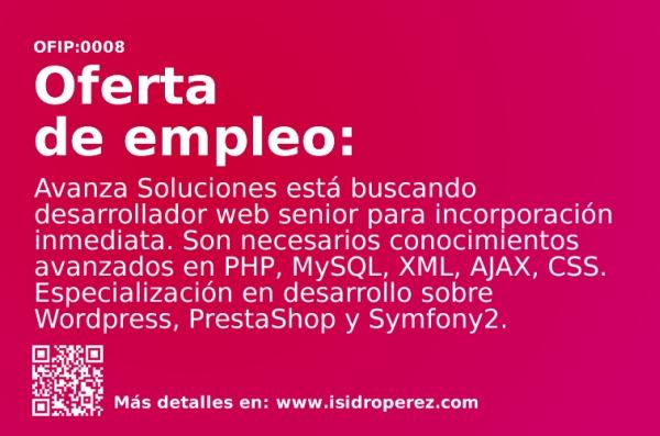 Oferta de empleo en Alicante. Desarrollador web senior