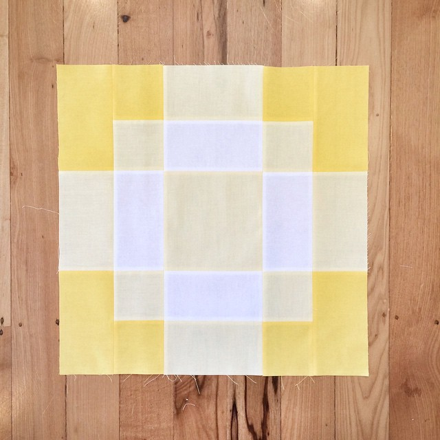 Block 6. After all those triangles this was insanely quick and easy to do. #modernbuildingblocks #modabuildingblocks #patchwork #quilt #yellow