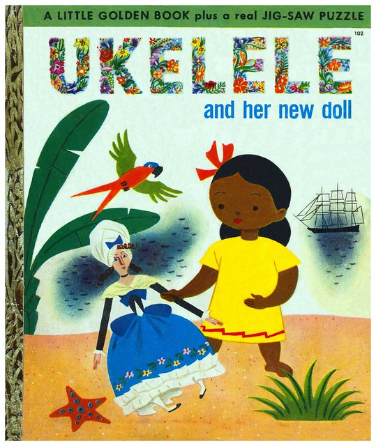 017-Ukelele and her new doll-Ilustrador Grant Campbell- Copyright 1951- via goldengems.blogspot