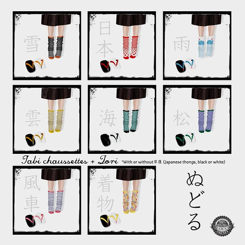 NuDoLu Tabi chaussettes + Zori All colors