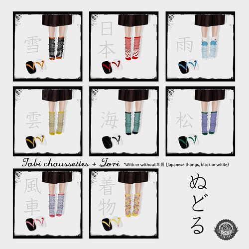 NuDoLu Tabi chaussettes + Zori All colors