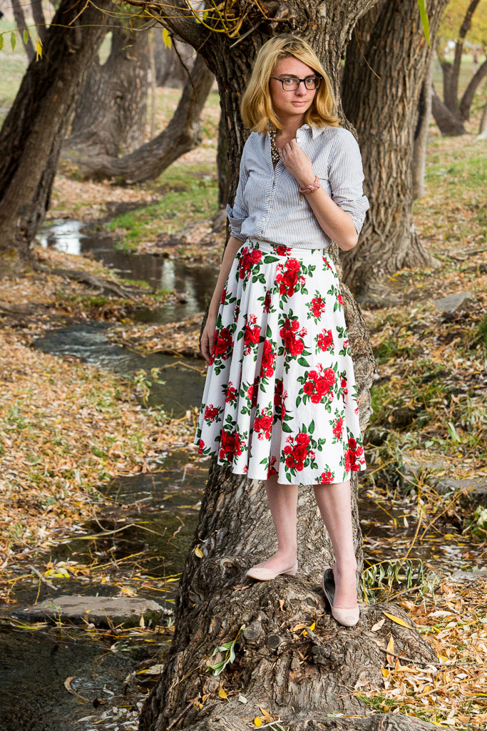 rose skirt, midi skirt, pink shoes, button up shirt, striped button down,