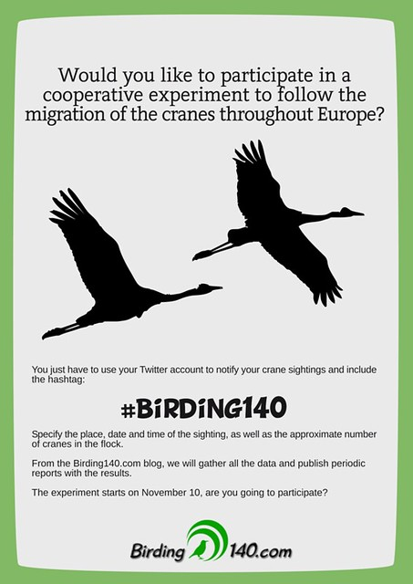 Cooperative experiment #Birding140 Cartel - When you see a crane, tweet it!