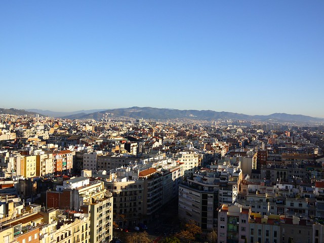 Spain Barcelona La Sagrada Familia scenery from the tower