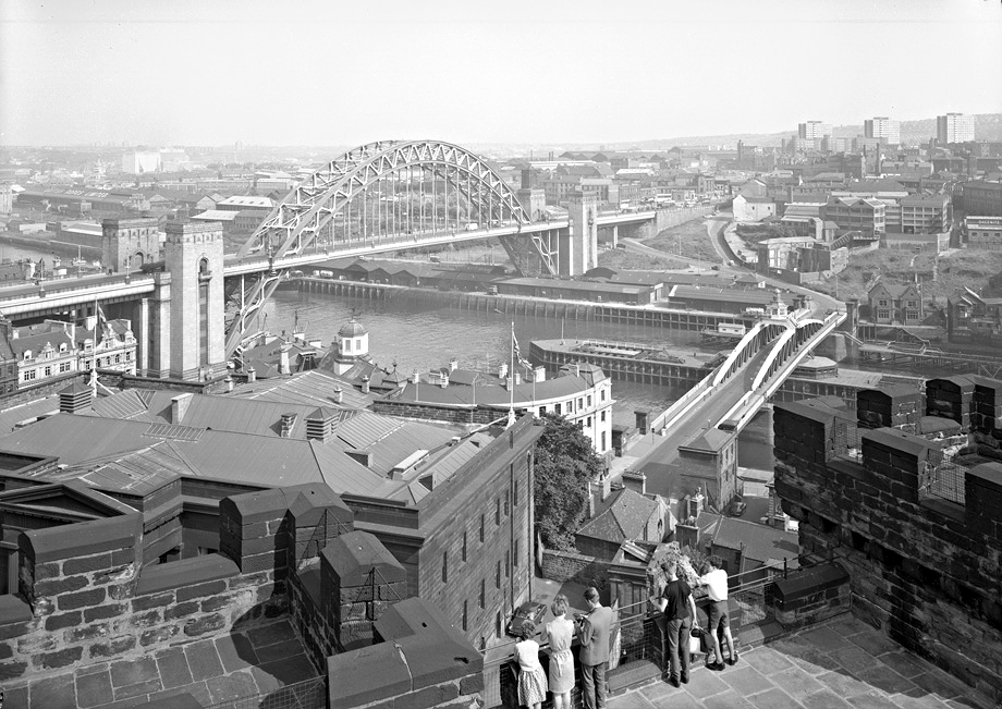Tyne Bridge and Swing Bridge from Newcastle, 1963