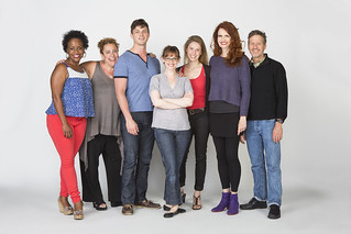 Haneefah Wood, Marcia DeBonia, Tyler Lansing Weaks, Jessica Stone, Allison Layman, Candy Buckley, and Martin Moran in Christopher Durang's smash-hit Broadway comedy Vanya and Sonia and Masha and Spike, directed by Jessica Stone, based on the Broadway direction of Nicholas Martin, playing January 2 – February 1, 2015 at the BU Theatre / Avenue of the Arts. Photo: Jim Cox