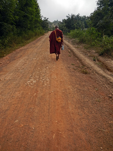 A monk along the trail of our Inle Lake trek in Myanmar