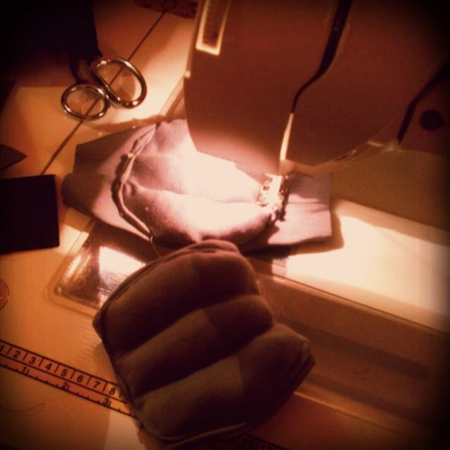 Last-minute slapdash #Halloween costume #sewing: kid-sized improvised #Ghostbusters elbow pads.