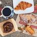 Poppy seed danish, almond croissant, butter croissant, spinach & feta burek