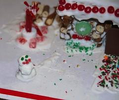 The snow-man Jean made for our pretzel log house.…