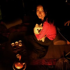 Xianna's first camping trip. As long as she has her countrywoman dog and her tea set, she's happy.