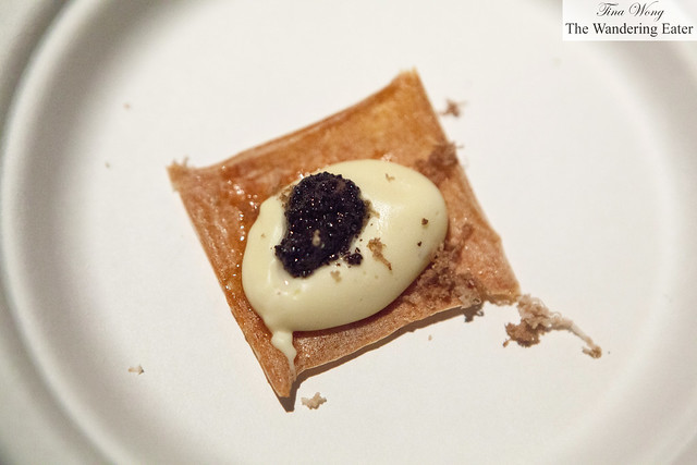 Kuzu chip with black truffle pate, aligote by Bouley