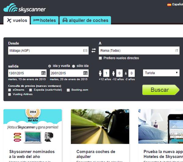Captura de la web de Skyscanner, a mi modo de ver la mejor web para buscar vuelos baratos