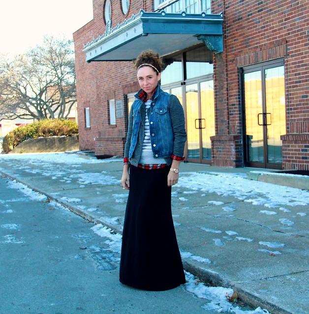 how to style a black midi skirt via Kristina j blog