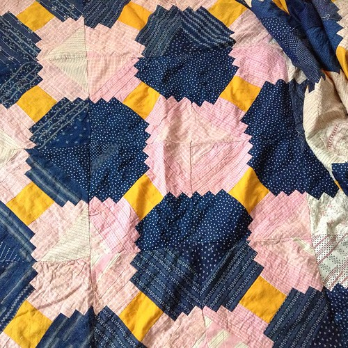 Another vintage quilt top I found at Canton. Pink & indigo courthouse steps, foundation pieced.