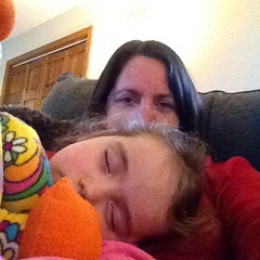 She fell asleep watching #Rudolph on jamama day. Right before #crepes