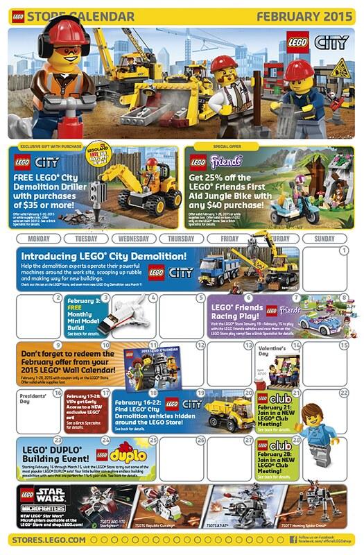 LEGO Shop February 2015 Calendar