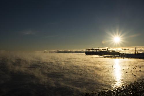 winter me sunrise pier frozen dock maine january freezing freeze seasmoke rockland publiclanding rocklandharbor fmcbiopolymer