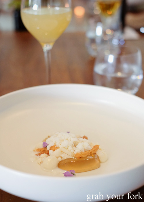 Honey, brioche and frozen milk at Biota Dining, Bowral