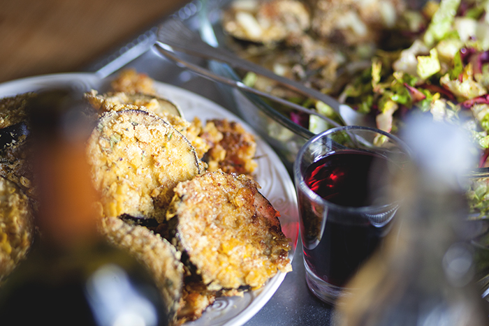 Aubergine, Sellerie, Möhre paniert mit Cornflakes