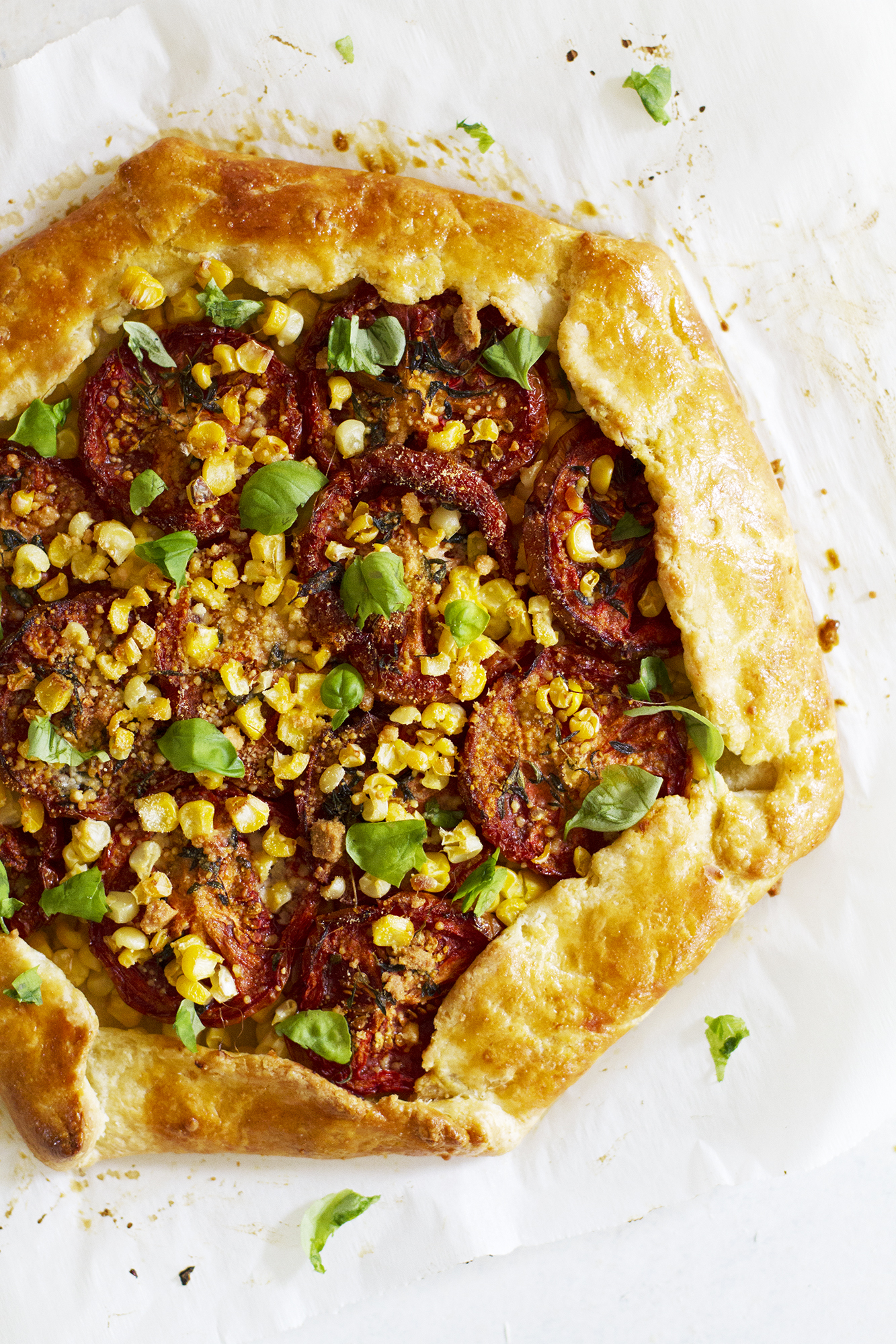 Sweet Corn and Slow Roasted Tomato Galette | girlversusdough.com @girlversusdough